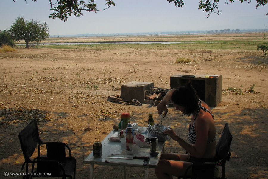 Marinading the chicken at Nkupe, Mana Pools