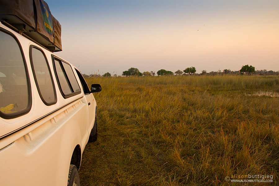 Rental car during self drive in Moremi Game Reserve, Botswana